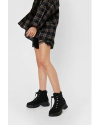 Nasty Gal Faux Leather Cleated High Ankle Sneakers - Black
