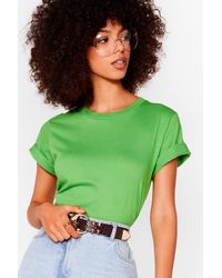 Nasty Gal Face The Facts Relaxed Tee - Green