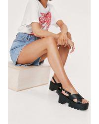 Nasty Gal Faux Leather Platform Crossover Sandals - Black