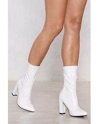 Nasty Gal Calf High Block Heel Sock Boots - White