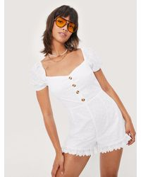 Nasty Gal Combishort En Broderie Anglaise À Manches Bouffantes - Blanc