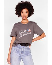 Nasty Gal T-Shirt À Impression Young American - Gris