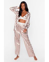 Nasty Gal Stay Stripe There 3-pc Oversized Pyjama Set - Multicolour