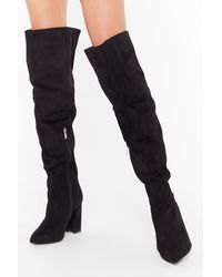 Nasty Gal Looks Like We Faux Suede It Wide Fit Boots - Black