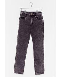 Nasty Gal Stud To Know Acid Wash Skinny Jeans - Grey