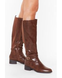 """Nasty Gal """"just Ride It Out Faux Leather Knee-high Boots"""" - Brown"""