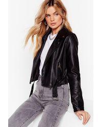 Nasty Gal Snake It Work Faux Leather Moto Jacket - Black
