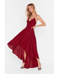 """Nasty Gal """"red V-neckline Lace-up Maxi Red Dress"""""""