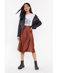 Nasty Gal Slipped And Fell Satin Midi Skirt - Brown