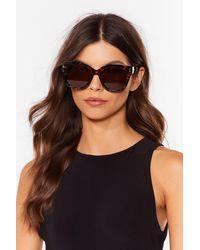 Nasty Gal Oversized It Tortoiseshell Cat-Eye Sunglasses - Marron