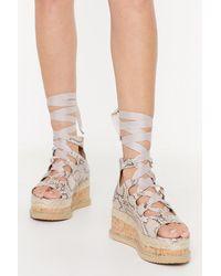 """Nasty Gal """"snake That Platform Lace-up Sandals"""" - Natural"""