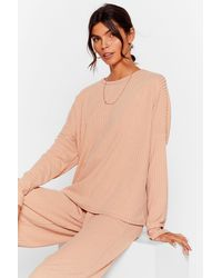 Nasty Gal - Recycled Ribbed Cullotte Loungewear Set - Lyst