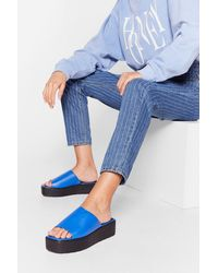 Nasty Gal Faux Leather Open Toe Platform Mules - Blue