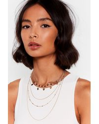 """Nasty Gal """"heart And Soul Layered Charm Necklace"""" - Metallic"""