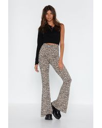 """Nasty Gal """"handle With Flare Leopard High-waisted Pants"""" - Multicolour"""
