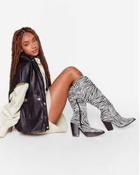 Nasty Gal Zebra Knee High Cowboy Boots - White