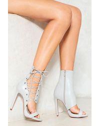 Nasty Gal - Corset Side Vegan Leather Heeled Sandal Corset Side Vegan Leather Heeled Sandal - Lyst