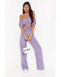 """Nasty Gal """"flower Of My Heart Floral Crop Top And Pants Set"""" - Purple"""