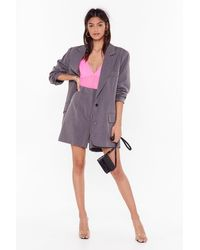 Nasty Gal Ain't Nobody's Business Tailored Longline Shorts - Gray