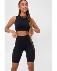 Nasty Gal Ribbed Seamless Crop Top And Biker Shorts Set - Black