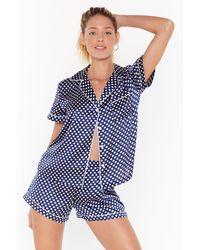 "Nasty Gal ""mark The Spot Satin Pyjama Shorts Set"" - Blue"
