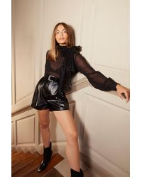 """Nasty Gal """"faux Leather High-waisted Shorts With Zip Fly Closure"""" - Black"""