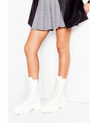 Nasty Gal Try To Tread Carefully Faux Leather Hiker Boots - White