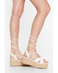 Nasty Gal Tie Me Babe Lace-up Platform Sandals - White