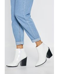 """Nasty Gal """"what's Your Ankle Patent Heeled Boots"""" - White"""