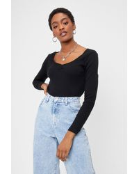 Nasty Gal - Sweetheart To Sweetheart Neckline Ribbed Top - Lyst