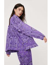 Nasty Gal Bandana Print Oversized Denim Jacket - Purple