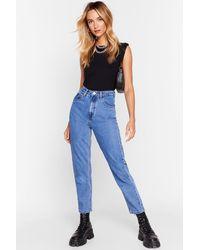 Nasty Gal High Waisted Belt Loop Mom Jeans - Blue