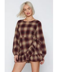 """Nasty Gal - """"plaid To See The Back Of You Wrap Dress"""" - Lyst"""