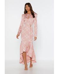Nasty Gal Not Today Satin Ruffle Midi Dress - Pink