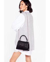 Nasty Gal Want You Better Shape Up Croc Crossbody Bag - Black