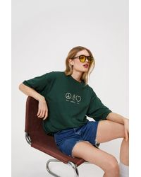 Nasty Gal Peace Positivity Love Graphic T Shirt - Green