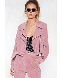 cf612c96eb5 Nasty Gal - Pink Before You Act Corduroy Moto Jacket - Lyst