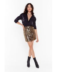 Nasty Gal It's Gonna Be Wild Leopard Sequin Mini Skirt - Metallic