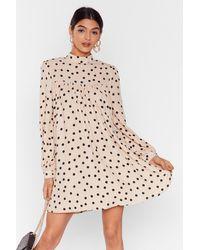 Nasty Gal Got A Smock To Say Polka Dot Mini Dress - Natural