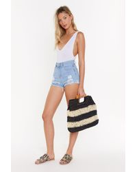 """Nasty Gal """"want Straw Of Attraction Square Woven Bag"""" - Black"""
