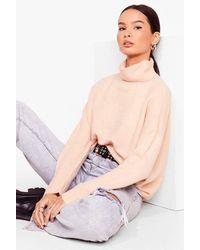 Nasty Gal Get Knit Girl Turtleneck Jumper - Pink