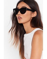 Nasty Gal Tinted Oversized Cat Eye Sunglasses - Black