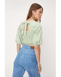 Nasty Gal Puff Sleeve Shirred Blouse - Green