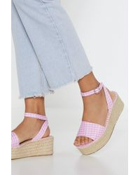 Nasty Gal - Square-well Gingham Woven Sandals - Lyst