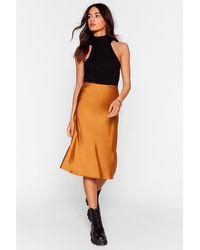 Nasty Gal Slipped And Fell Satin Midi Skirt - Orange
