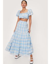 Nasty Gal Check Print Tiered High Waisted Maxi Skirt - Blue