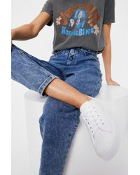 Nasty Gal Canvas Ribbed Sole Lace Up Sneakers - White