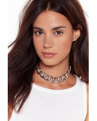 """Nasty Gal """"chain-ge The Rules Chunky Chain Necklace"""" - Metallic"""