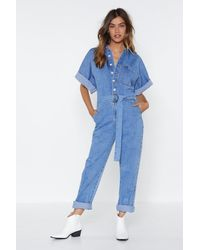 Nasty Gal The Complete Package Denim Boilersuit - Blue