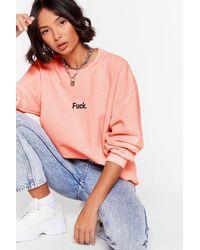 Nasty Gal Ah Fuck Oversized Graphic Sweatshirt - Pink